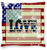 US Flag with LOVE Blue Line Inside Pillow