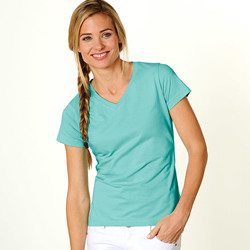 LAT Ladies' Combed Ring-Spun Jersey V-Neck T-Shirt