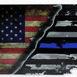 "USA-Thin Blue Line Flag Decal 4"" or 6"""