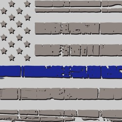 Thin Blue Line Light Distressed Flag Decal 1.25""